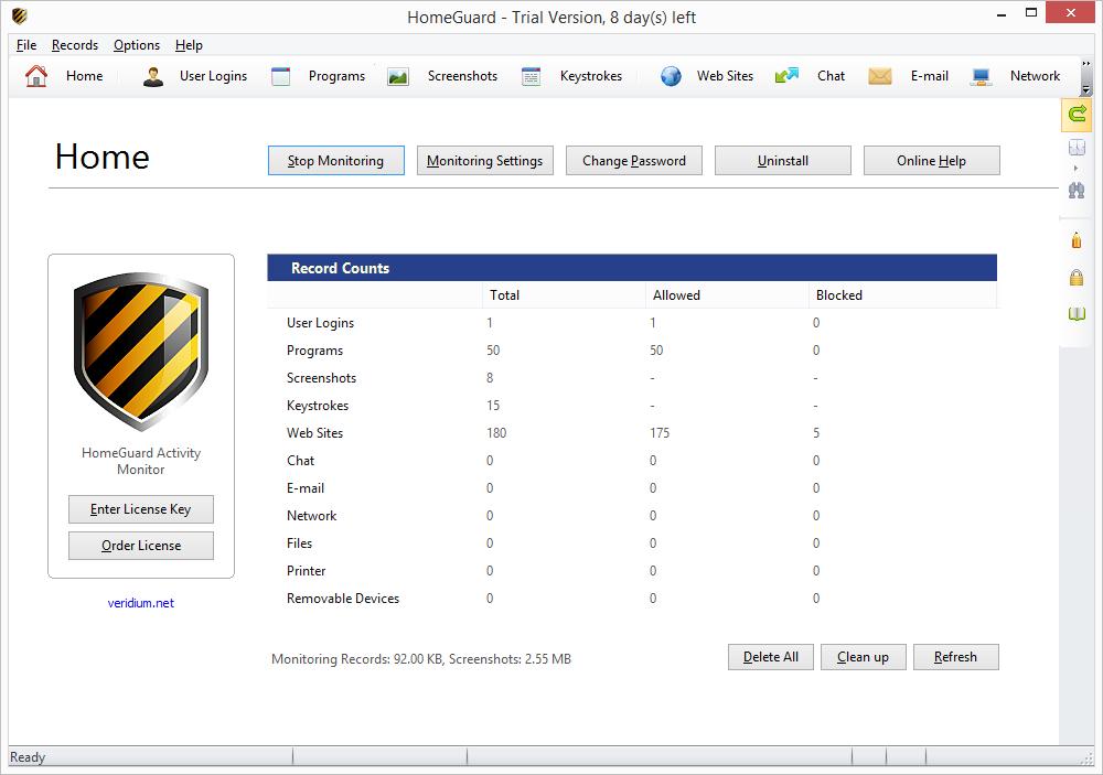 HomeGuard Activity Monitor Screenshot