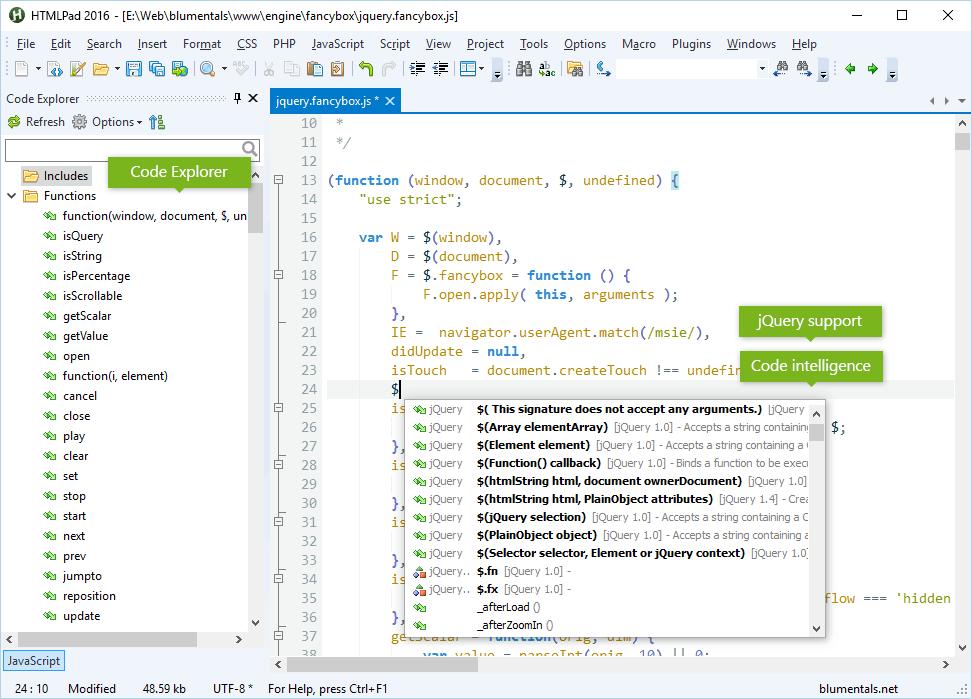 HTMLPad 2016 Screenshot javascript-editor