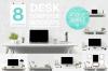 Free design bundle 8 Desk Computer Mockups bundle