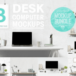 Free design bundle 8 Desk Computer Mockups bundle