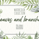 free illustration Watercolor Leaves and branches