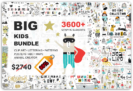 99% Off – Big Kids Bundle: 3600 Elements from 16 Trendy, Cute & Funny Style Clipart & Illustration Sets